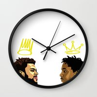 kendrick lamar Wall Clocks featuring 2 Kings. Kendrick Cole by MikeHanz
