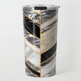 Abstract Chevron Pattern - Black and White Marble Travel Mug