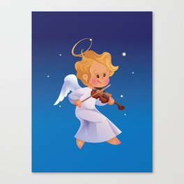 Cute Christmas  baby angel playing violin Canvas Print