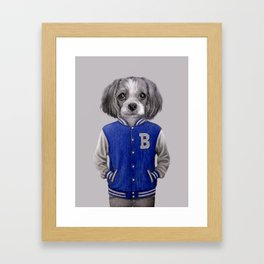dog boy portrait Framed Art Print