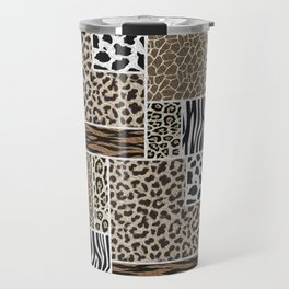 Stylized Multi-Animal Fur Print Travel Mug