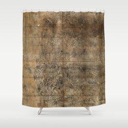 Map of Mount Wutai (1846) Wutaishan sheng jing quan tu Shower Curtain