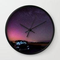 subaru Wall Clocks featuring Nocturnal Subaru by Race Jones