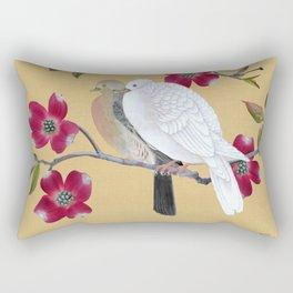 Doves in Red Dogwood Tree Rectangular Pillow