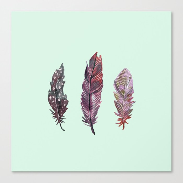 watercolor feathers (mint green) dos Canvas Print