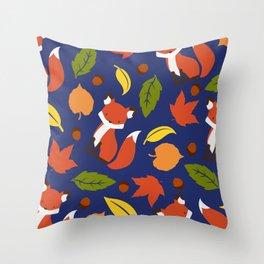 Fox Jumble - Blue Throw Pillow
