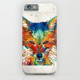 Colorful Fox Art - Foxi - By Sharon Cummings iPhone Case