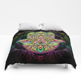 Hamsa Hand Amulet Psychedelic Comforters