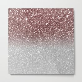 Glam trendy rose gold silver glitter ombre bokech pattern Metal Print