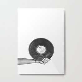 Vinyl Record, Black and White, Modern Minimalist Photography Metal Print