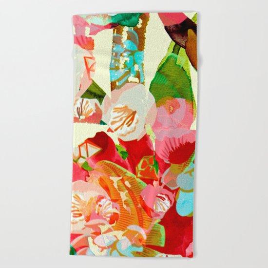 clown floral Beach Towel