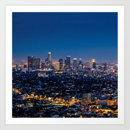 Los Angeles, California, I love LA Downtown Skyline, Golden lights, USA Sunset Blvd, Palms, Cali Map Art Print