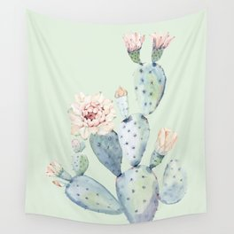 Prettiest Mint Cactus Rose Wall Tapestry