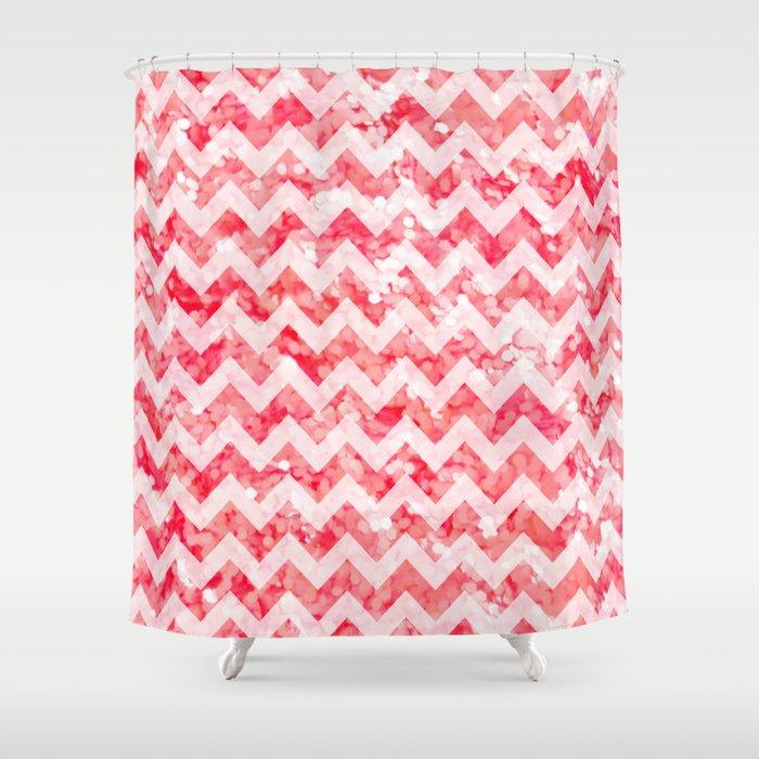 Pink Glitter Chevron Shower Curtain