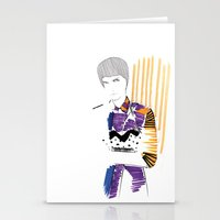 stripe Stationery Cards featuring Stripe by freakienfluffie