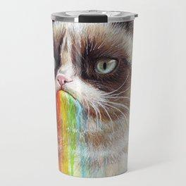 Cat Tastes the Grumpy Rainbow Travel Mug