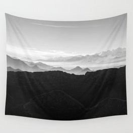 Mountains in the morning mist Wall Tapestry