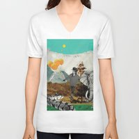 bali V-neck T-shirts featuring Bali and elephant  by Laura HURLU