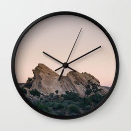 Sunset Over Desert Vasquez Rocks Wall Clock