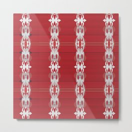 Delicate White Pattern Stripes over Red Metal Print