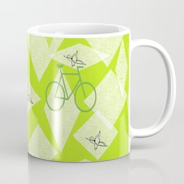 Bicycles and Butterflies Green Coffee Mug