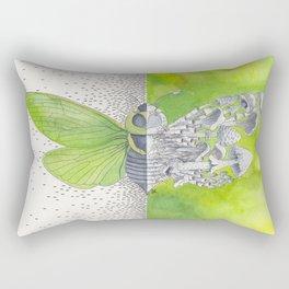 Green Cicada / Mushroom Watercolor Painting Rectangular Pillow