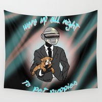 puppies Wall Tapestries featuring Up All Night to Pet Puppies by Quigley Down Under