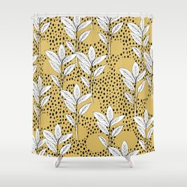 Summer leaves fall is coming garden and raindrops ochre yellow Shower Curtain