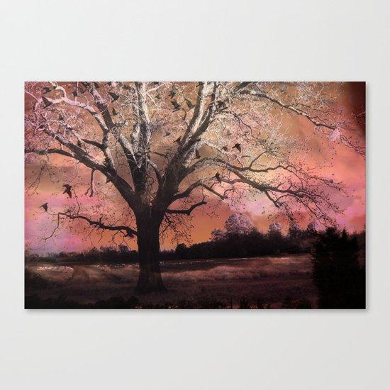 Surreal Trees Ravens Landscape  Canvas Print