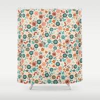 folk Shower Curtains featuring Folk Flowers by Anna Deegan