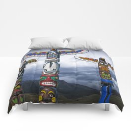 Colorful Totem Poles in the Northwest Comforters
