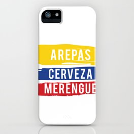 Arepas Cerveza Merengue print Gift with a Colombian flag iPhone Case