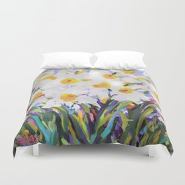 White Daffodil Meadow Duvet Cover