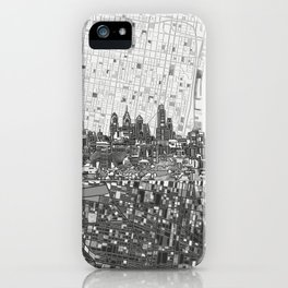 philadelphia city skyline black and white iPhone Case