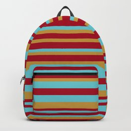 Golden, Red Wine and Turquoise Vintage Stripes Backpack