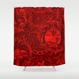Red IOOF Woven Symbolism Tapestry Shower Curtain