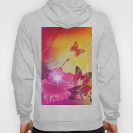 Awesome colorful flowers and butterfly Hoody