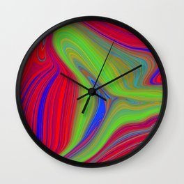 red and blue swirls with green Wall Clock