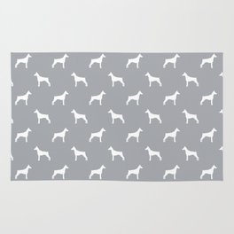 Doberman Pinscher dog pattern grey and white minimal dog breed silhouette dog lover gifts Rug