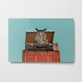 Owl and mouse in old suitcases Metal Print