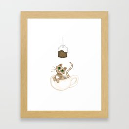 Teacup Cat (pixel) Framed Art Print