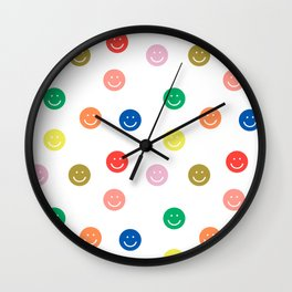 Smiley faces happy simple rainbow colors pattern smile face kids nursery boys girls decor Wall Clock