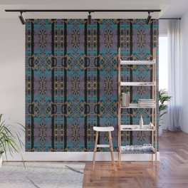 Geometric Stained Glass - 80s Marigold, Turquoise & Magenta Pattern on Black by artestreestudio Wall Mural