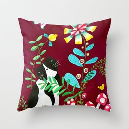 Oh Happy Day Cat Throw Pillow