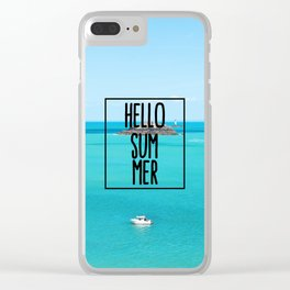 Hello Summer Typography with Turquoise Ocean Clear iPhone Case