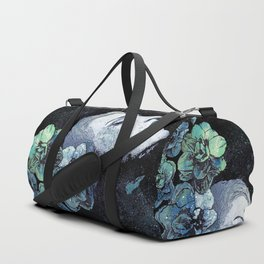Obey Me: Blue (graffiti flower woman portrait) Duffle Bag