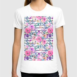 Pink mauve lilac hand painted watercolor roses floral stripes T-shirt