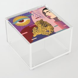 The Big Eye Leopard abstract Acrylic Box