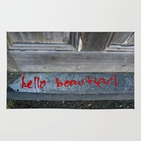 hello beautiful Area & Throw Rugs featuring Hello Beautiful by Mine Ours Yours