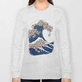 The Great Wave of Shiba Inu Long Sleeve T-shirt